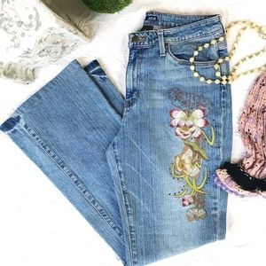 A.N.A Jeans Size 10 Embroidered Flower Motif Boot